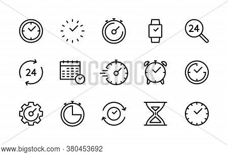 Time And Clock Linear Icons Vector Symbol Set. Collection Of Time, Clocks, Timer, Control, Speed, Al