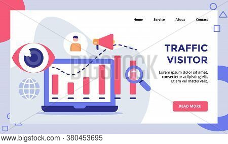 Traffic Visitor Statistic Chart On Display For Web Website Home Homepage Landing Page Template Banne