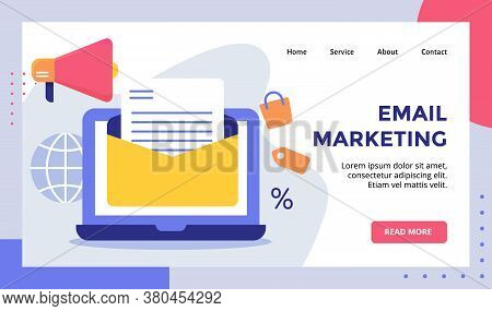 Email Marketing Open Mail On Display Monitor For Web Website Home Homepage Landing Page Template Ban