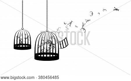 Birdcages With Flying Up Money. Vector Decoration From Scattered Elements. Monochrome Isolated Silho