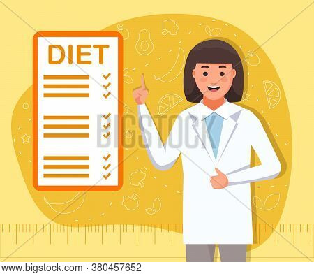 Dietitian Consultation. Concept Of Healthy Eating, Personal Diet Or Nutrition Plan From Dieting Expe