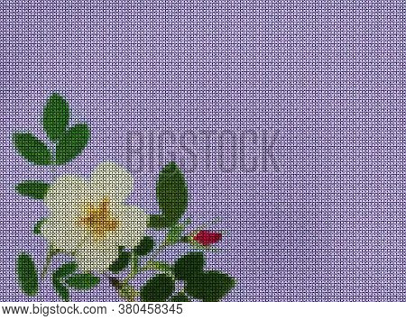 Illustration. Cross-stitch, Bouquet Of Flowers. Floral Background, Collage. Texture Of Flowers. Rust