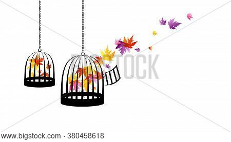Birdcages With Flying Up Colorful Autumn Leaves. Vector Decoration From Scattered Elements. Colorful