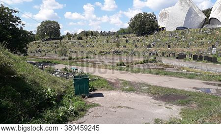 Kiev, Ukraine - August 11, 2020: Columbarium For The Graves Of The Dead In The Kiev Crematorium