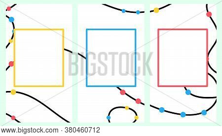 Screensaver For Phone. Colorful Beads Are Strung On A Thread. Flat Vector Drawing. Abstract Backgrou