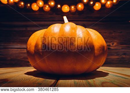 Halloween Pumpkin With Holiday Lights And Copy Space On It