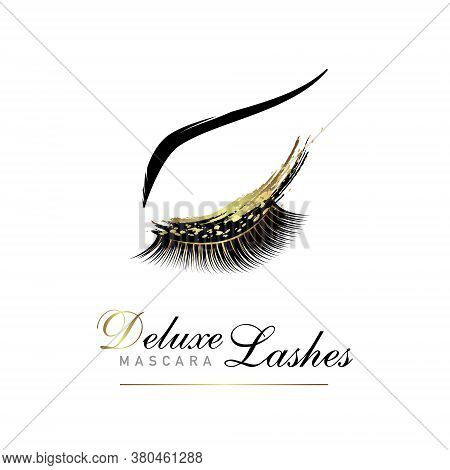 Luxury Eyelashe Glamour Logo. Vector Emblem For Beauty Salon Or Lash Extensions Maker. Eye Makeup Wi