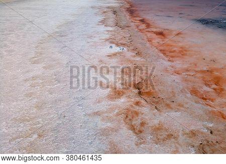 Pink Salt Lake. Salt Industry - Extraction Of Pink Salt. Wonder Of Nature. The Pink Crust Of Salt On