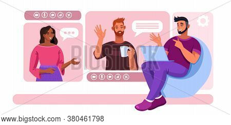 Video Call Illustration With Smiling Friends Meeting Online, Laptop, Armchair. Virtual Meeting Or Gr
