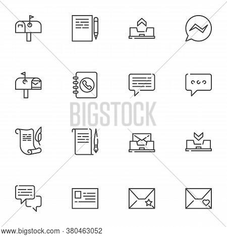 Communication Line Icons Set, Outline Vector Symbol Collection, Linear Style Pictogram Pack. Signs,
