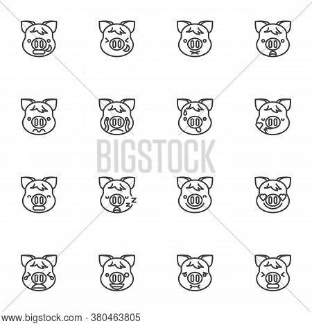 Pig Emoticon Line Icons Set, Outline Vector Symbol Collection, Piggy Face Emoji Linear Style Pictogr