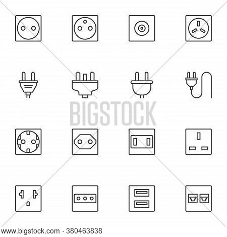 Plug And Socket Line Icons Set, Outline Vector Symbol Collection, Linear Style Pictogram Pack. Signs