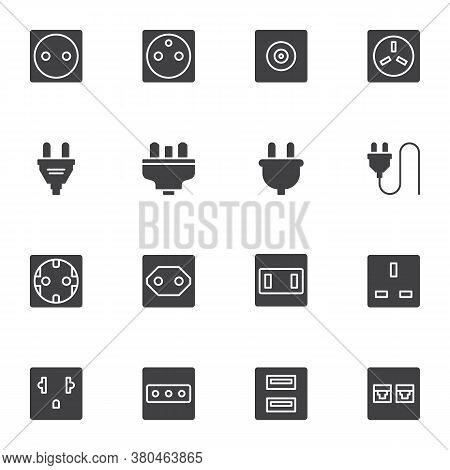 Plug And Socket Vector Icons Set, Modern Solid Symbol Collection, Filled Style Pictogram Pack. Signs