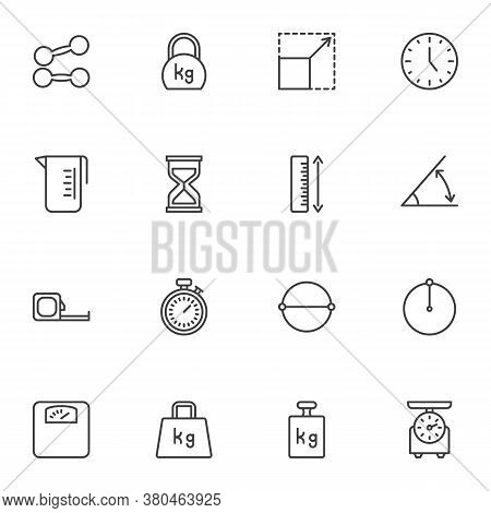 Weight And Measurement Line Icons Set, Outline Vector Symbol Collection, Linear Style Pictogram Pack