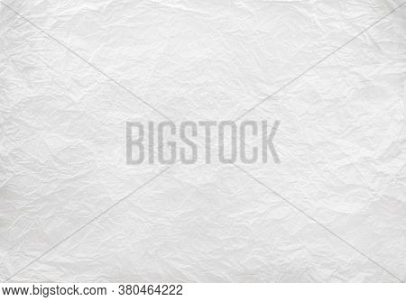 Closeup To White Crumpled Paper Texture Background,abstract