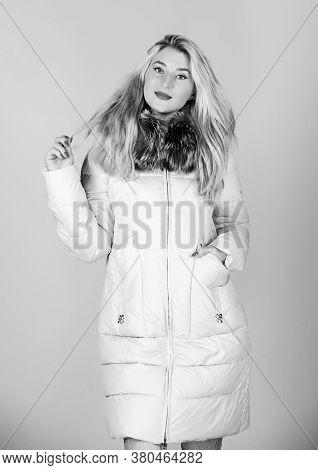 Winter Time. Flu And Cold. Seasonal Fashion. Girl In Puffed Coat. Faux Fur Fashion. Woman In Padded