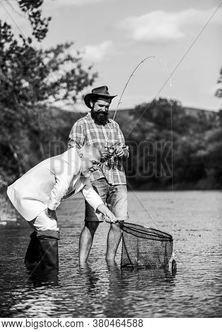 Bearded Man And Brutal Hipster Fishing. Family Day. Fishing Team. Peace Of Mind And Tranquility. Fre