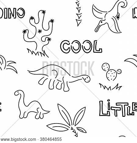Cute Dinosaurs And Palm Trees, Cacti. Seamless Pattern. Hand Drawn Vector Doodle Design For Kids, Fa