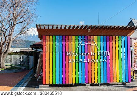 Fujikawa Rakuza, Fuji City, Shizuoka Prefecture, Japan - February 23, 2020: Multicolored Panel Of