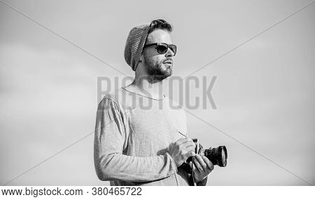 Photographic Story. Capture Adventure. Journalist. Sexy Man Touristic Reporter. Photographer In Glas