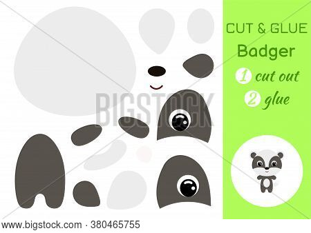 Cut And Glue Baby Badger. Education Developing Worksheet. Color Paper Game For Preschool Children. C