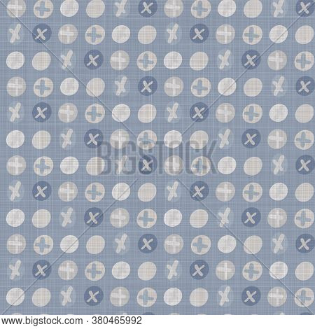 Seamless French Farmhouse Dotty Linen Pattern. Provence Blue White Woven Texture. Shabby Chic Style