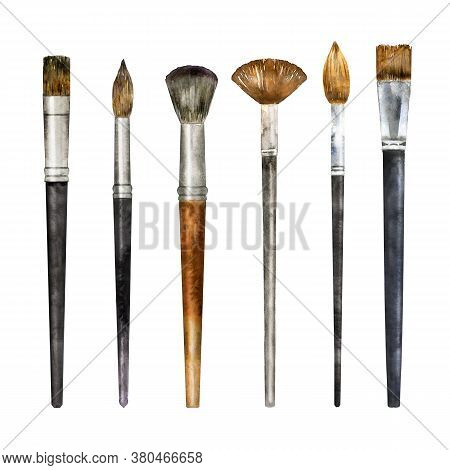 Watercolor Set Of Brushes Isolated On White. Hand Drawn Painting Tool For Artist Or Make Up Applicat