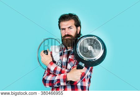 Kitchen Advertising. Man With Saucepan. Man Hold New Brand Pan. Shopping Kitchenware. Cooking Pot In