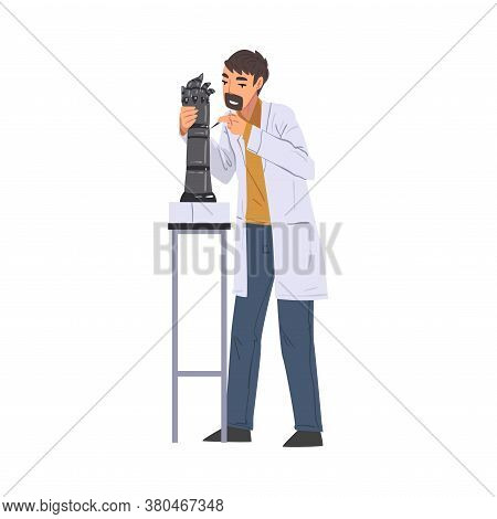 Scientist In Lab, Man In White Coat Doing Scientific Experiment With Laboratory Equipment Vector Ill