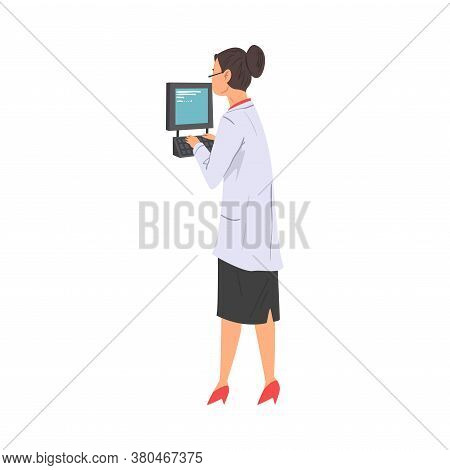 Scientist In Lab, Woman In White Coat Doing Scientifical Researches With Laboratory Equipment Vector