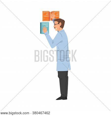 Scientist In Lab, Male Professor In White Coat Doing Scientific Researches In Laboratory Vector Illu