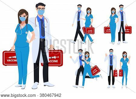 Medical Staff Character Set Vector Concept Design. Covid-19 Front Liners Doctor And Nurse Characters