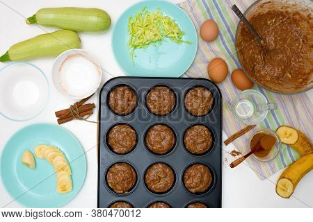 Step By Step Recipe And Ingredients For Chocolate Muffins With Zucchini And Banana. Wet Veggie Cupca