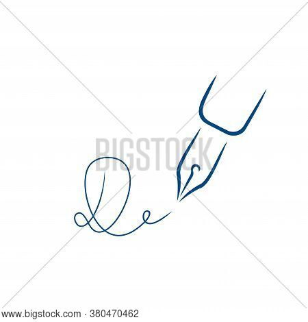 Pen Icon, Signature In The Style Of Brush Strokes. Signature In The Form Of The Letter D.