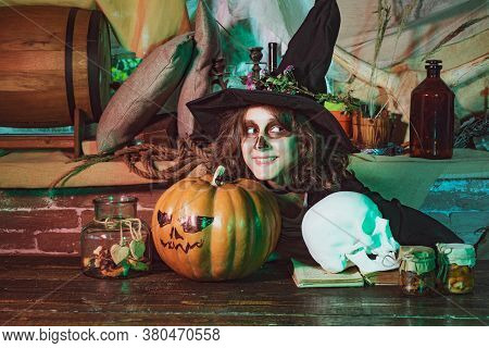 Funny Face. Fairy. Halloween Interior. Halloween Party With Child Wearing Halloween Costumes. Surpri