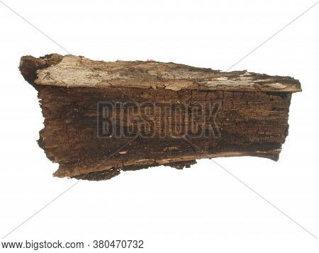 Piece Of Old Rotten Wood Bark Isolated On A White Background