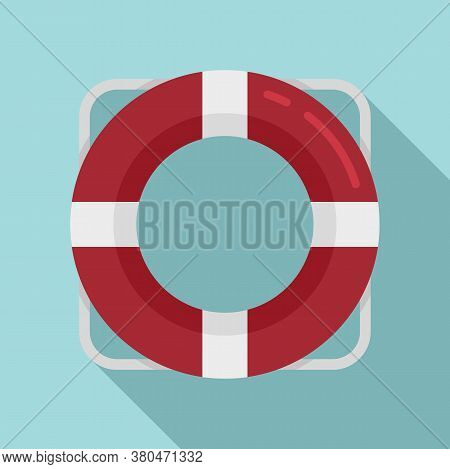 Survival Life Buoy Icon. Flat Illustration Of Survival Life Buoy Vector Icon For Web Design