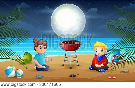 Illustration Of Evening Barbeque On The Beach