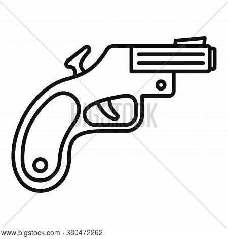 Flare Gun Icon. Outline Flare Gun Vector Icon For Web Design Isolated On White Background