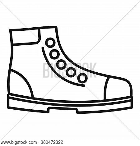Hiking Boot Icon. Outline Hiking Boot Vector Icon For Web Design Isolated On White Background
