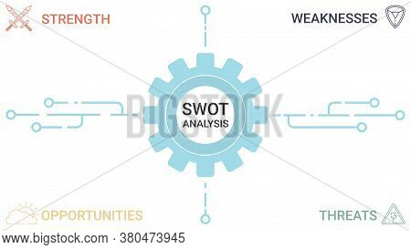 Swot Diagram With 4 Rectangular Elements. Comparison Strengths, Weaknesses, Opportunities And Threat