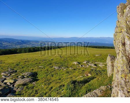 Semenic Mountain Top Panorama Of Surrounding Area. Semenic Mountains Are A Shallow Mountains Group I
