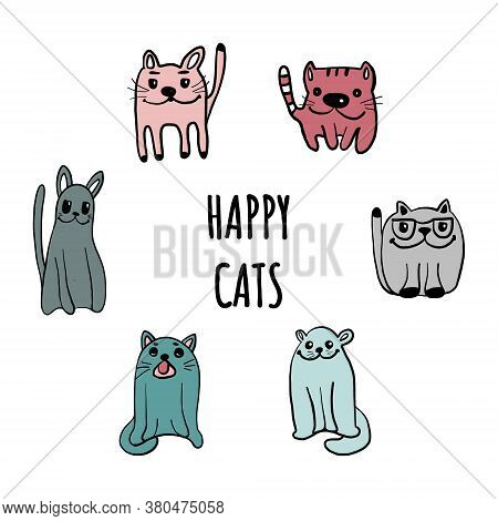 Set Of Cats And Kittens. Vector Illustration Of Animals Pets In The Style Of A Cartoon.