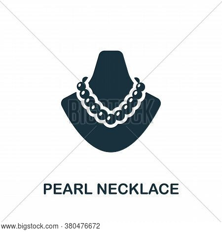 Pearl Necklace Icon. Simple Element From Jewelery Collection. Creative Pearl Necklace Icon For Web D