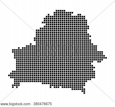 Belarus Map. Map Of Belarus In Dotted Style. Borders Of The Country Filled With Rectangles For Your