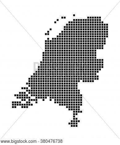 Netherlands Map. Map Of Netherlands In Dotted Style. Borders Of The Country Filled With Rectangles F