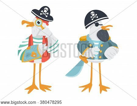 Vector Seagull Animal Pirates In Cocked Hats. Funny Sailors Characters In Striped T-shirts With Eye