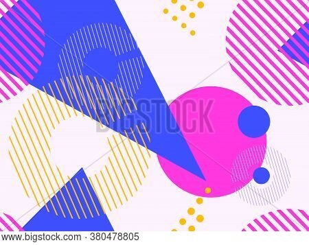 Geometric Seamless Pattern In Style Of The 80S. Geometric Shapes Triangles, Squares, Circles Abstrac