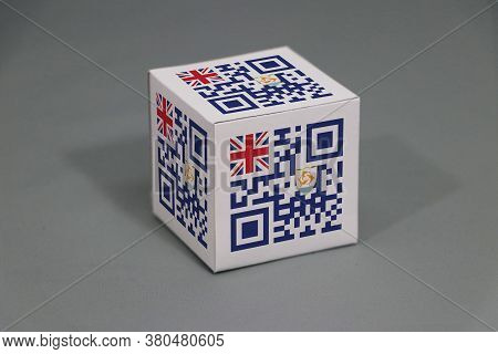 Qr Code Set The Color Of Anguilla Flag Painted On The Cubic. Paper Box Packaging For Put Products. T