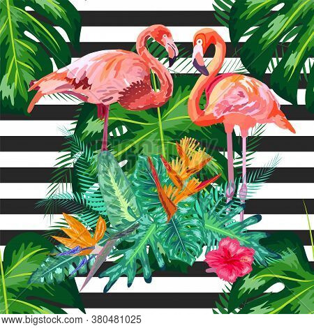 Print Beautiful Tropic Pink Flamingo And Hibiscus Flower On A Black And White Geometric Background.